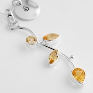 Sterling Silver Necklace With Citrine Leaves & Optional Initial Charm