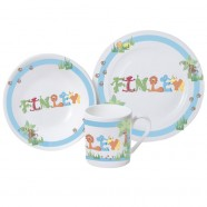 Personalised Animal Name Breakfast Set - Blue
