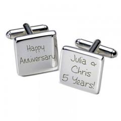 Square Happy Anniversary Personalised Cufflinks