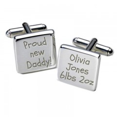 Square Proud New Daddy! Cufflinks Personalised Cufflinks