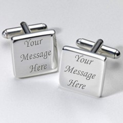 Bespoke Square Personalised Cufflinks - Add Your Own Message