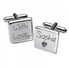 Square With Love Personalised Cufflinks