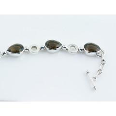 Sterling Silver Smoky Quartz Faceted Drops Gemstone Bracelet