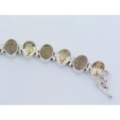 Sterling Silver Golden Rutilated Quartz & Citrine Gemstone Bracelet