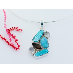 Sterling Silver Mixed Gemstone Pendant