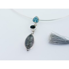 Sterling Silver Blue Topaz, Black Onyx and Black Rutilated Quartz  Pendant
