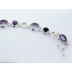 Sterling Silver Amethyst, Garnet & Ruby Star Gemstone Toggle Bracelet