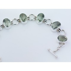 Sterling Silver & Faceted Green Amethyst Gemstone Bracelet