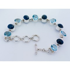 Sterling Silver Kyanite & Blue Topaz Gemstone Bracelet