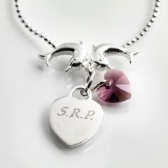 Gabrielles Sterling Silver Dolphins Ball Bracelet  With Swarovski Crystal Birthstone Heart Charm
