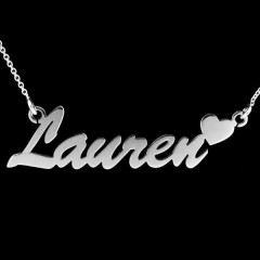 Personalised Sterling Silver 'Carrie' Heart Style Name Necklace
