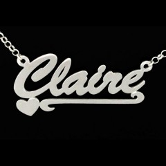 Personalised Sterling Silver 'Carrie' Style Heart Scroll Name Necklace