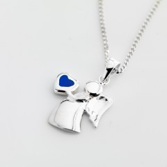 Sterling Silver Birthstone Guardian Angel Necklace - December