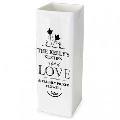 Personalised Ceramic 'Full Of Love' Square Vase