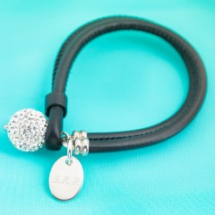 Nappa Leather Cord Bracelet With Swarovski Crystal Pave Ball - Black With Personalised Charm