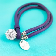 Nappa Leather Cord Bracelet With Swarovski Crystal Pave Ball  - Purple With Personalised Charm