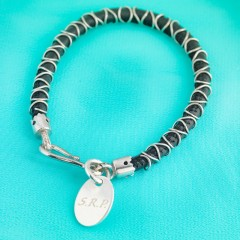 Nappa Leather Cord & Sterling Silver Wire Bracelet - Black With Personalised Charm