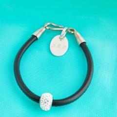 Nappa Leather Cord Bracelet With Swarovski Crystal Rondelle - Black
