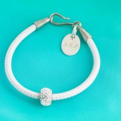 Nappa Leather Cord Bracelet With Swarovski Crystal Rondelle - White