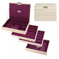 Dulwich Designs Women's Cream Lidded Stacker Set - Purple Lining
