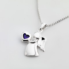 Sterling Silver Birthstone Guardian Angel Necklace  - June