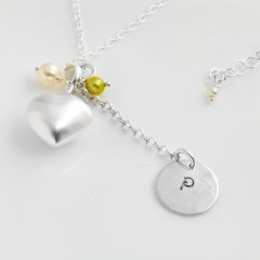 St Silver Necklace With Personalised Stamped Initial & Heart Charms