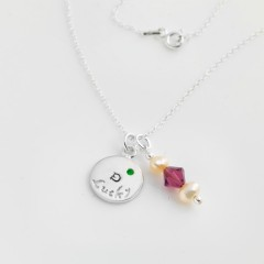 Sterling Silver Necklace With Personalised Lucky Charm & Swarovski Birthstone Bead