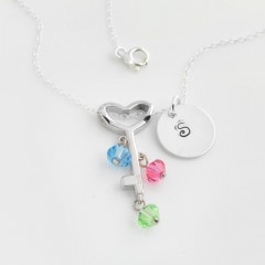 St Silver Necklace With Personalised Stamped Initial Charm & Swarovski Stones