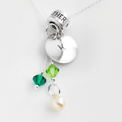 St Silver Necklace With Personalised Stamped Initial, Mother Charm & Birthstone cluster