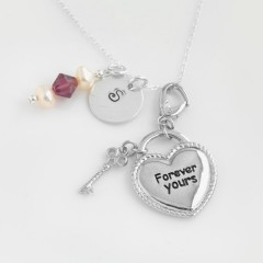 St Silver Necklace With Personalised Stamped Initial Charm & Forever Yours Pendant