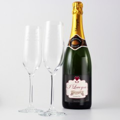 Personalised 'I Love You'  Champagne and Two Engraved Flutes