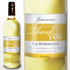Thank You Label Personalised White Wine