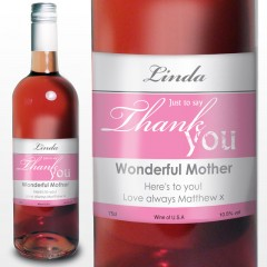 Thank You Label Personalised Rose Wine