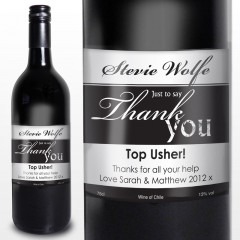 Thank You Label Personalised Red Wine