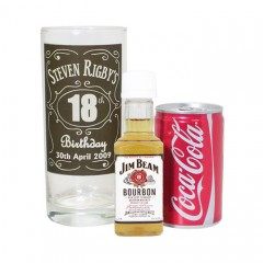 Personalised Classic Whisky Style Glass with Bourbon Whisky Miniature & Coke Set