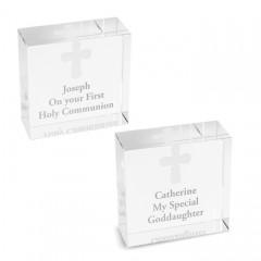 Personalised Medium Crystal Block With Cross