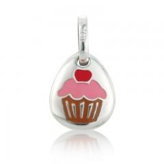 Gemma J Sterling Silver Cupcake Pebble Charm