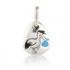 Gemma J Sterling Silver Blue Stork Pebble Charm
