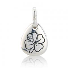 Gemma J Sterling Silver Four Leafed Clover Pebble Charm
