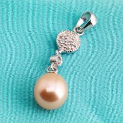 Sterling Silver Peach Fresh Water Pearl Pendant CZ stone