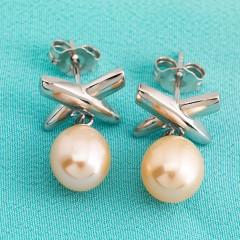 Sterling Silver Peach Fresh Water Pearl Cross Earrings