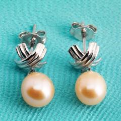 Sterling Silver Peach Fresh Water Pearl Earrings Curved Cross