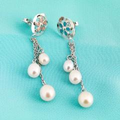 Sterling Silver White Fresh Water Pearl Earrings & Enamel Daisy's With Tassles