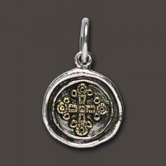 Waxing Poetic Sterling Silver & Brass Petite Wing & Prayer Croix Charm / Pendant