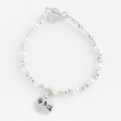Sterling Silver Multi-Ring Bracelet With Pearls