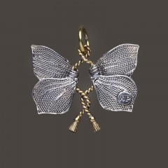 Waxing Poetic Sterling Silver & Brass Rope Flutterby Charm / Pendant