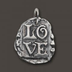 Waxing Poetic Sterling Silver Spirit Stamp Pendant - Love