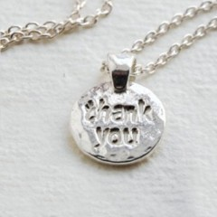 Sterling Silver 'Thank You' Message Charm Necklace by Kutuu