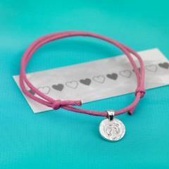 Sterling Silver 'Baby Feet' Motif Cord Bracelet by Kutuu