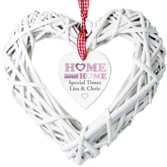 Personalised Home Sweet Home Wicker Heart Decoration